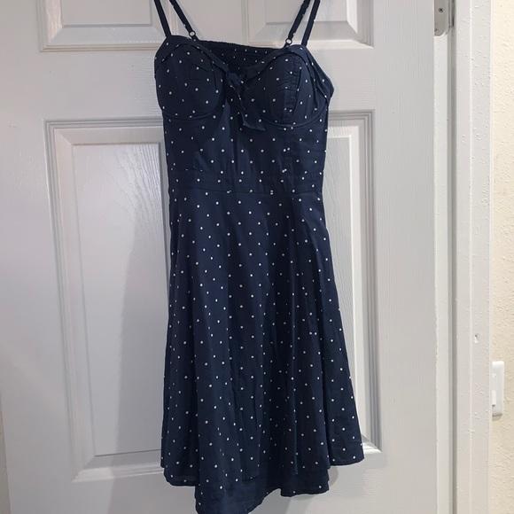 Retro blue polka dot dress with bow